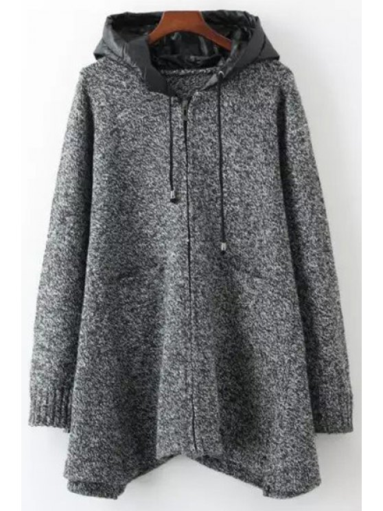 shop Solid Color Pockets Zipper Hooded Neck Cardigan - GRAY ONE SIZE(FIT SIZE XS TO M)