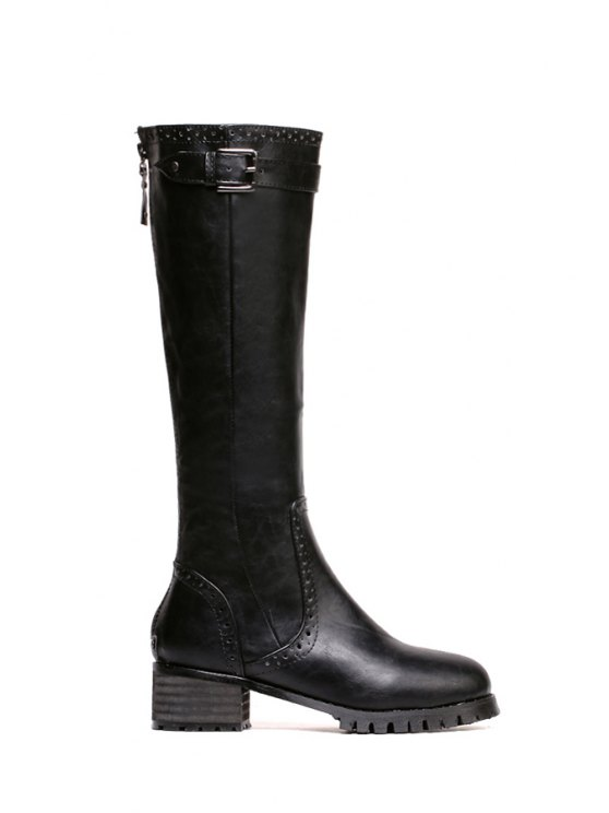 buy Engraving Black Buckle Mid-Calf Boots - BLACK 36