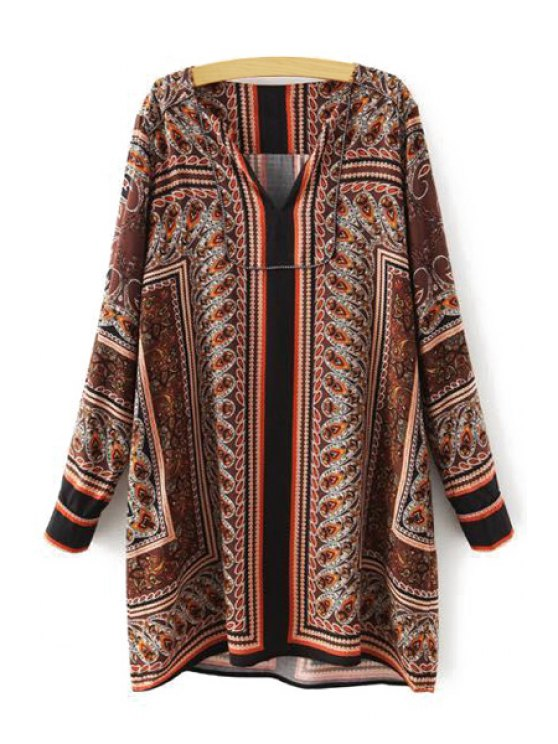 outfit Paisley Print Straight Dress - BROWN S