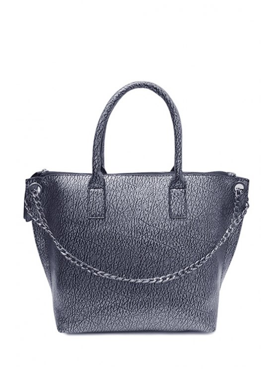 outfit Chains Pure Color Zipper Tote Bag - SILVER