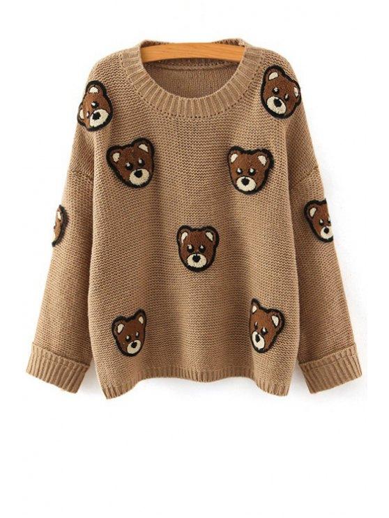 women's Bear Pattern Scoop Neck Long Sleeve Jumper - KHAKI ONE SIZE(FIT SIZE XS TO M)
