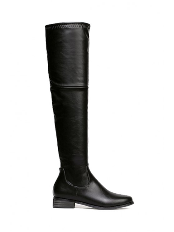hot Black Zipper PU Leather Thigh Boots - BLACK 35