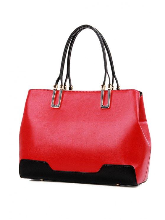 trendy Color Block Zipper Metal Tote Bag - RED