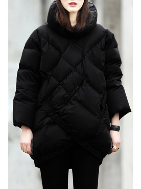 new Funnel Collar Checked Down Coat - BLACK S