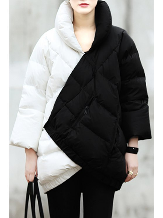 shop Checked Color Black Down Coat - WHITE AND BLACK S