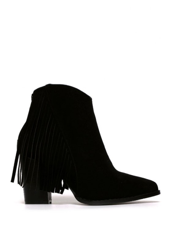 latest Fringe Suede Chunky Heel Short Boots - BLACK 35