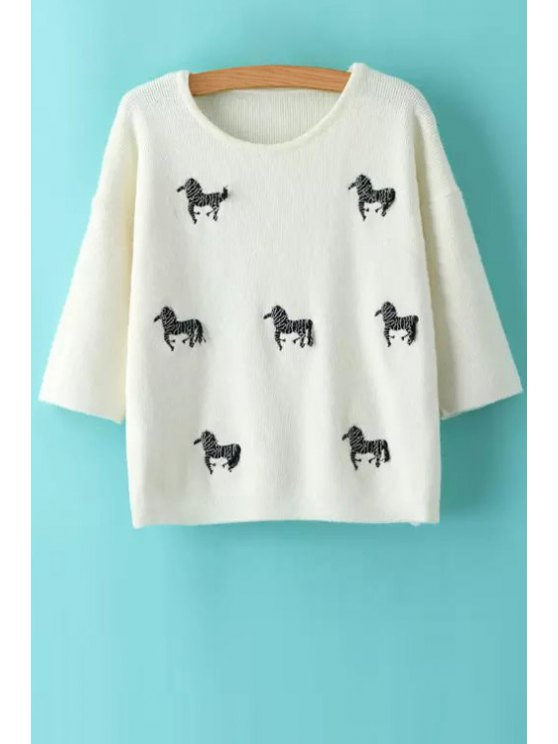 trendy Animal Embroidery Print Round Collar 3/4 Sleeves Sweater - WHITE ONE SIZE(FIT SIZE XS TO M)