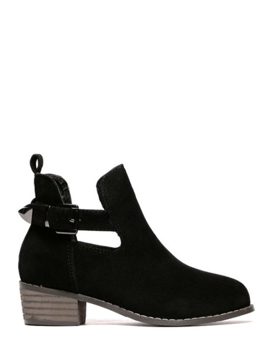 women's Hollow Out Buckle Suede Ankle Boots - BLACK 35