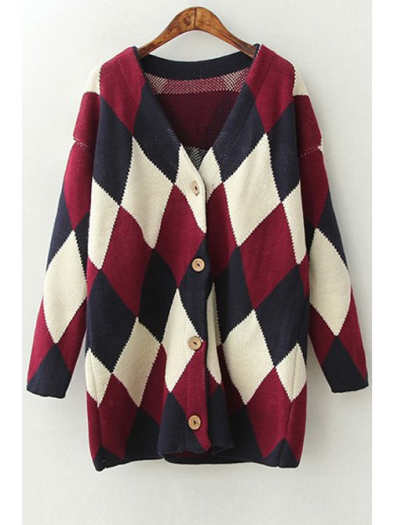 unique Argyle Pattern Color Block V-Neck Long Sleeves Cardigan - BLACK AND WHITE AND RED ONE SIZE(FIT SIZE XS TO M)