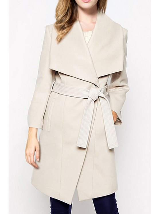 affordable Solid Color Waisted Turn-down Collar Long Sleeves Coat - OFF-WHITE XS