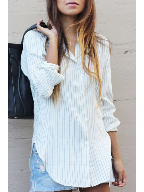 outfits Striped Turn Down Collar Long Sleeves Shirt - WHITE S