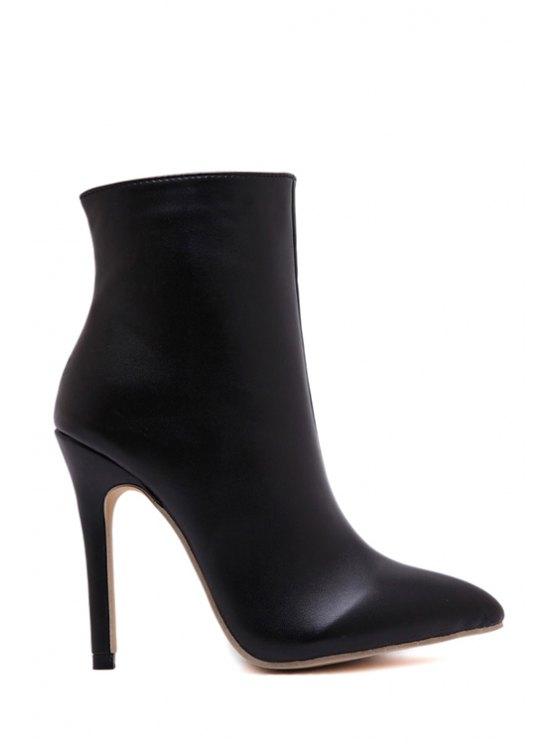 womens Pointed Toe Stiletto Heel Black Short Boots - BLACK 35