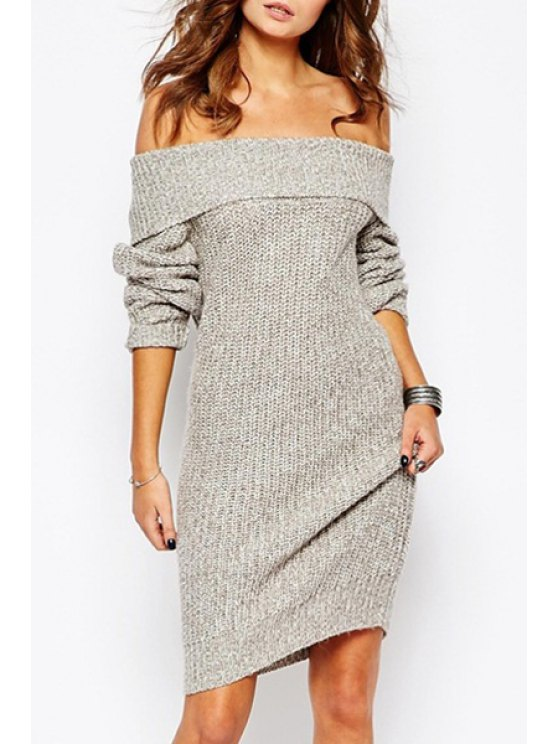 lady Light Gray Off The Shoulder Sweater Dress - LIGHT GRAY ONE SIZE(FIT SIZE XS TO M)