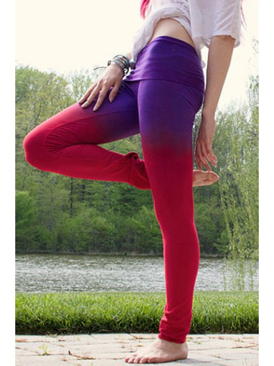 lady Ombre Color Pencil Pants - BLUE AND RED S