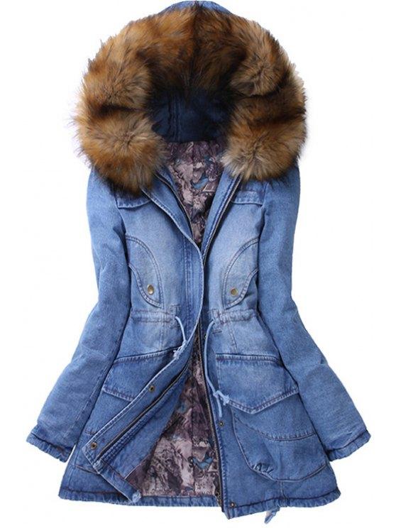 fancy Faux Fur Hooded Collar Long Sleeves Thicken Denim Coat - BLUE M