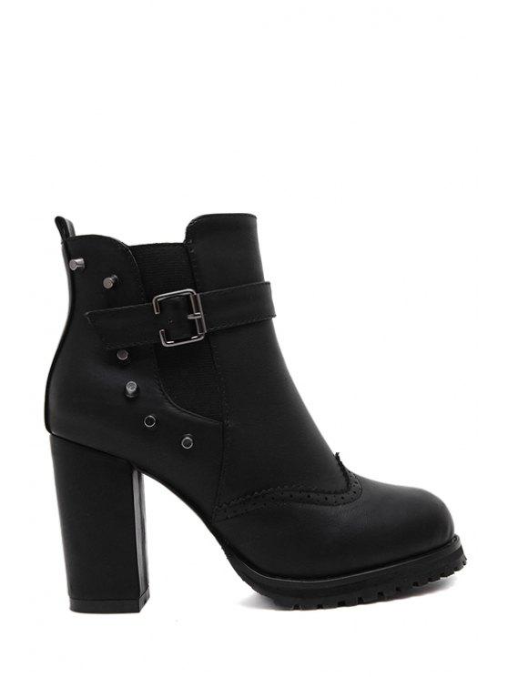 best Rivet Engraving Chunky Heel Short Boots - BLACK 35