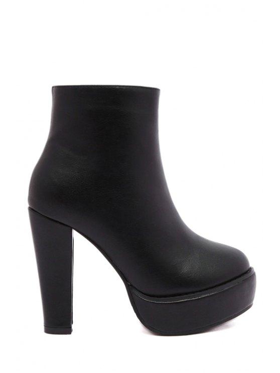 women Platform Solid Color Chunky Heel Short Boots - BLACK 34