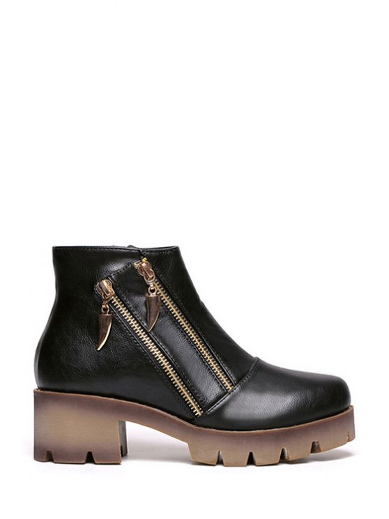 ladies Platform Zipper Metal Ankle Boots - BLACK 35