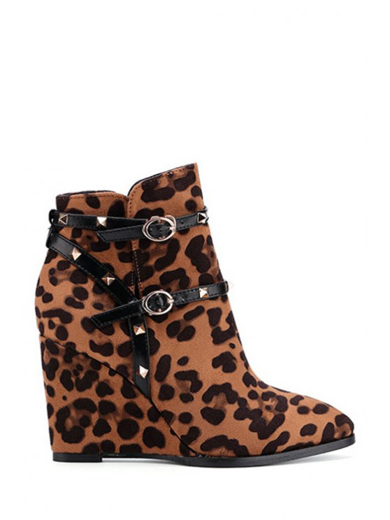 outfits Leopard Print Wedge Heel Rivet Ankle Boots - LEOPARD 35