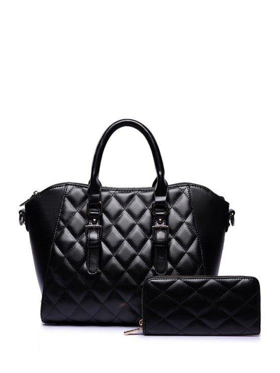 best Argyle Buckle Pure Color Tote Bag - BLACK