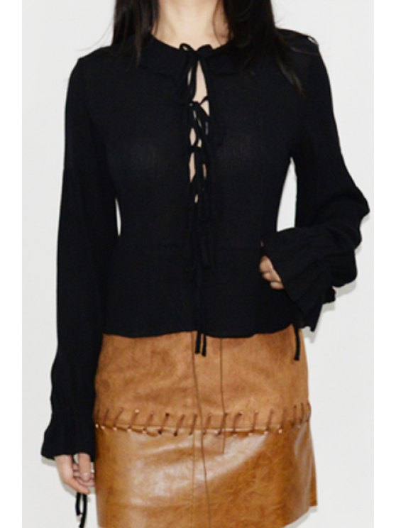 outfits Flouncing Lace-Up Fall Top - BLACK ONE SIZE(FIT SIZE XS TO M)