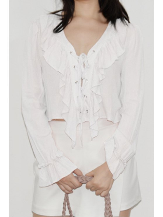 latest Deep V Neck Ruffle Fall Top - BEIGE ONE SIZE(FIT SIZE XS TO M)