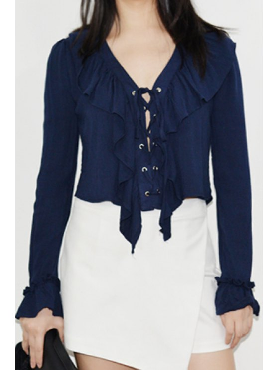 trendy Deep V Neck Ruffle Fall Top - DEEP BLUE ONE SIZE(FIT SIZE XS TO M)