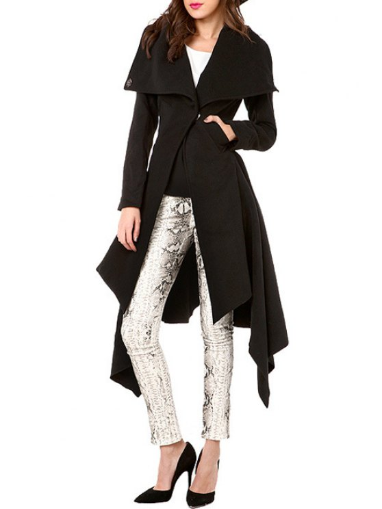 sale Waisted Solid Color Asymmetric Turn-Down Collar Coat - BLACK S