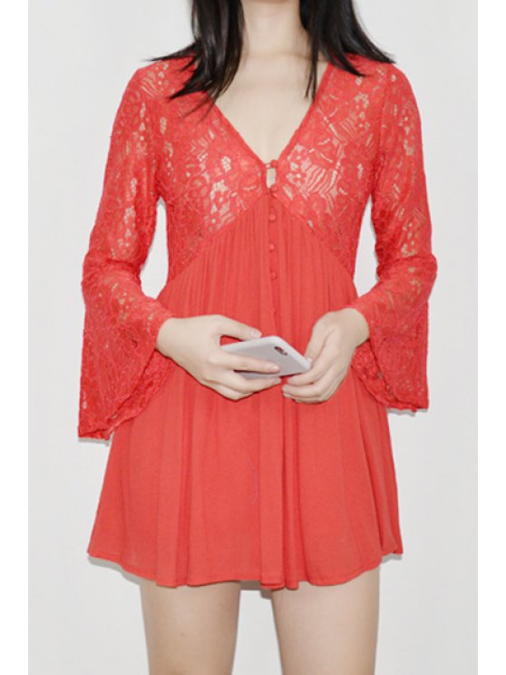 trendy Flare Sleeve Openwork Lace Hook Dress - RED ONE SIZE(FIT SIZE XS TO M)
