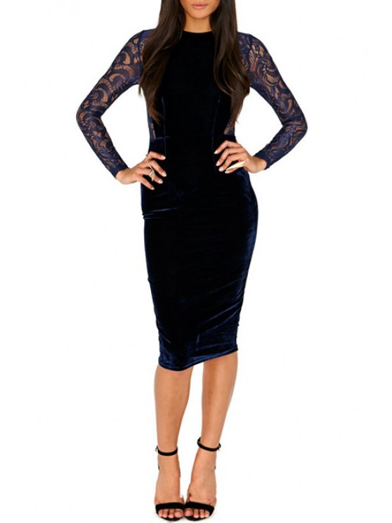 women's Lace Spliced See-Through Long Sleeves Work Dress - DEEP BLUE S