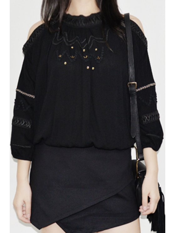 unique 3/4 Sleeve Cut Out Fall Top - BLACK ONE SIZE(FIT SIZE XS TO M)
