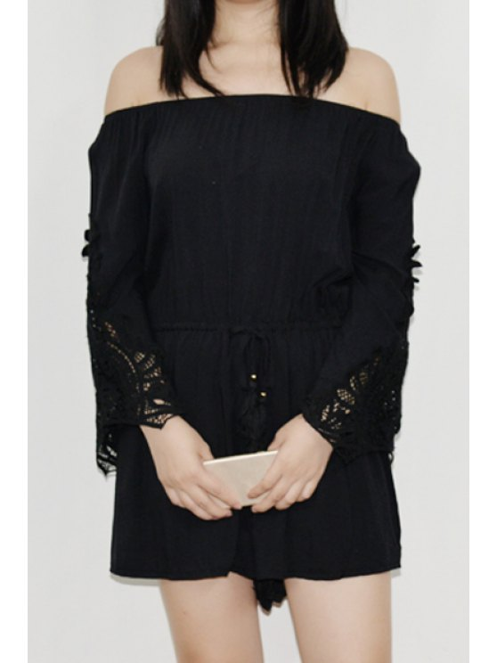 shop Off-The-Shoulder Bell Sleeve Romper - BLACK ONE SIZE(FIT SIZE XS TO M)