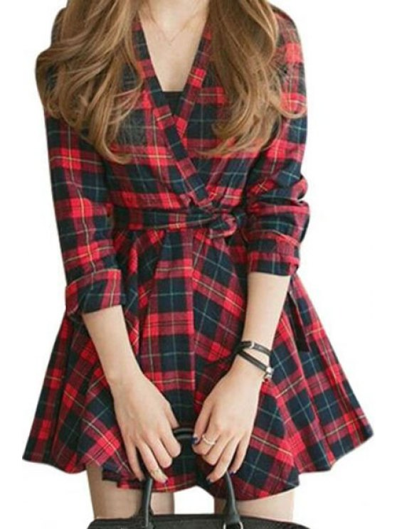 women V-Neck Long Sleeves Waisted Plaid Dress - RED WITH BLACK S