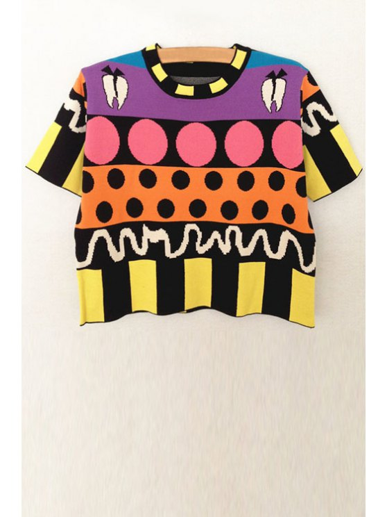 affordable Geometric Pattern Short Sleeve Jumper - COLORMIX XS