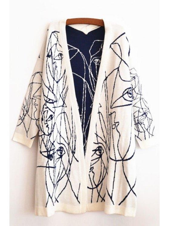 new Stripe Collarless Long Sleeve Cardigan - WHITE S