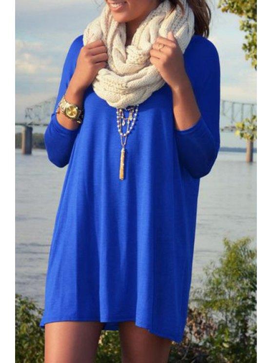 hot Blue Scoop Neck Nine-Minute Sleeve Dress - SAPPHIRE BLUE S