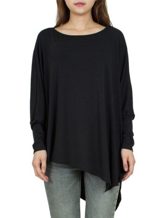 new Solid Color Irregular Hem Batwing Sleeves T-Shirt - BLACK ONE SIZE(FIT SIZE XS TO M)