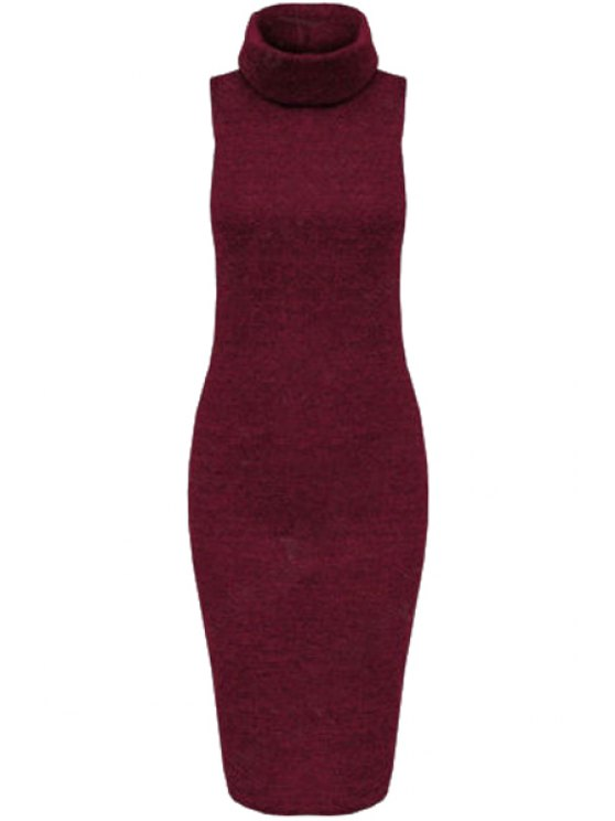 hot Solid Color Bodycon Turtle Neck Sleeveless Sweater Dress - WINE RED S