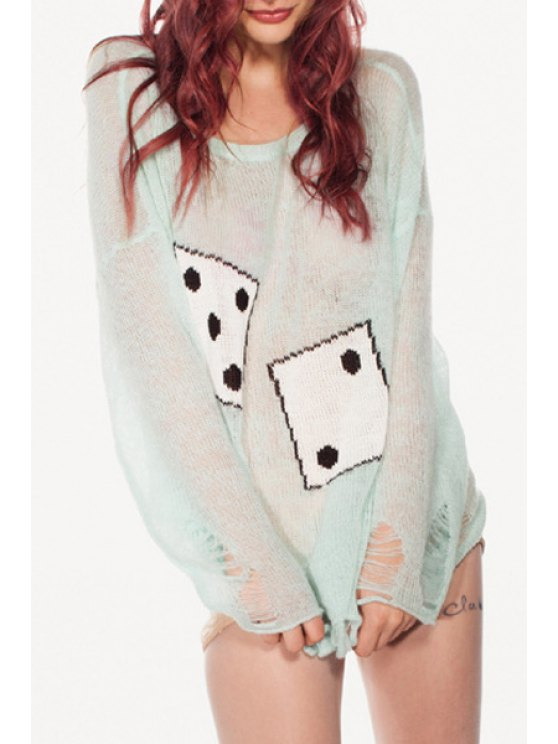 outfit Dice Jacquard Ripped Sweater - LIGHT GREEN ONE SIZE(FIT SIZE XS TO M)