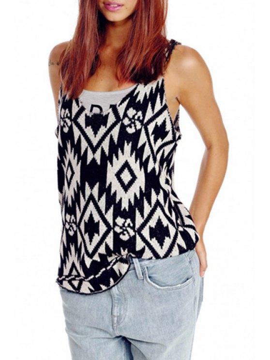 shop Sleeveless Geometric Jacquard Sweater - BLACK ONE SIZE(FIT SIZE XS TO M)