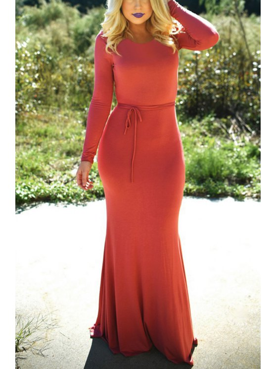 online Open Back Long Sleeve Maxi Dress - AS THE PICTURE S
