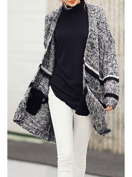 fashion Open Front Mixed Color Longline Cardigan - GRAY ONE SIZE(FIT SIZE XS TO M)