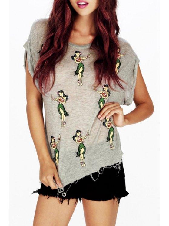 womens Short Sleeve Dancing Girl T-Shirt - GRAY S