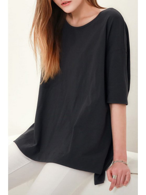 new Solid Color High-Low-Hem Half Sleeves T-Shirt - BLACK S