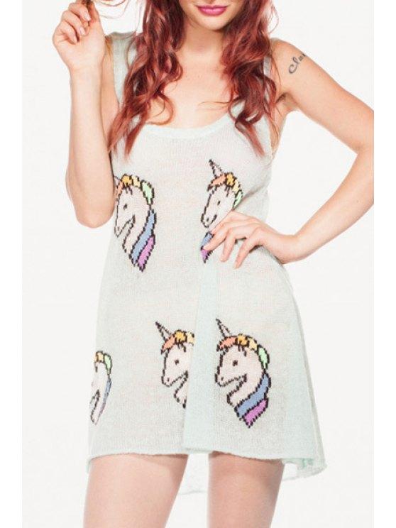 affordable Sleeveless Unicorn Pattern Sweater - LIGHT GREEN ONE SIZE(FIT SIZE XS TO M)