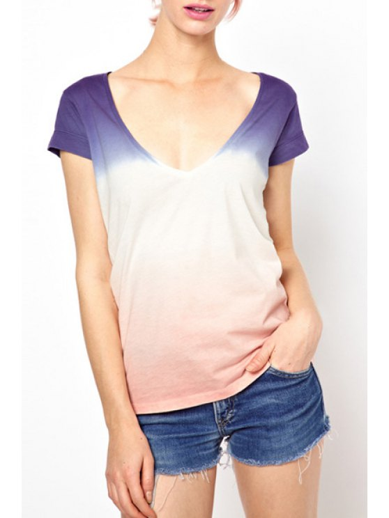 trendy Short Sleeve Ombre Color T-Shirt - PINK XS