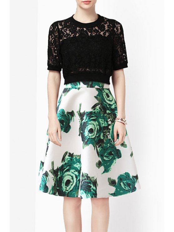 buy Floral Print High Waisted A-Line Skirt - GREEN S