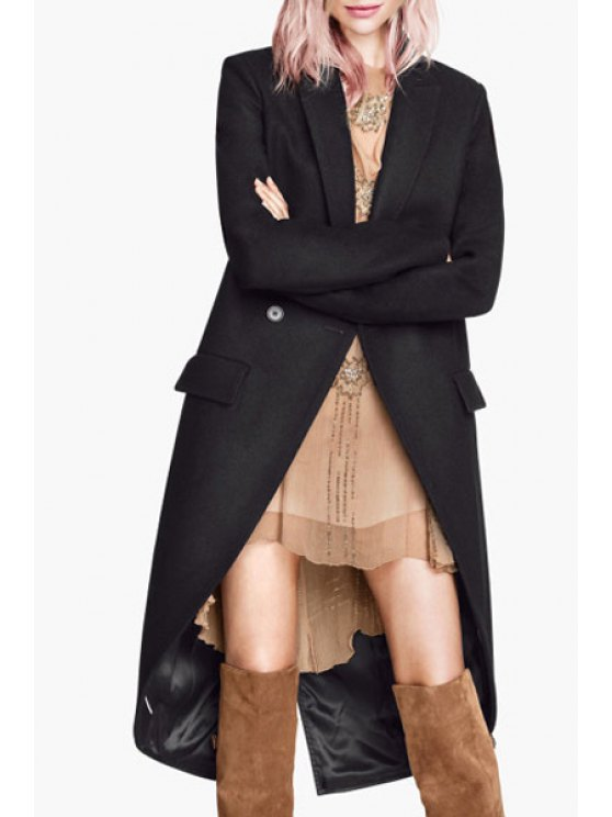 chic Double-Breasted Dovetail Wool Coat - BLACK XS