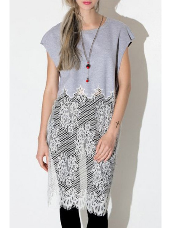 best Lace Spliced Jewel Neck Short Sleeve T-Shirt - GRAY S