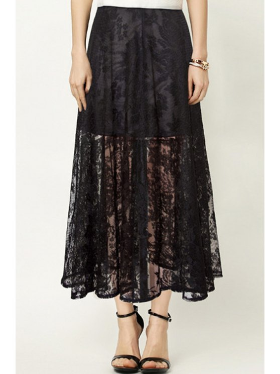 shop Openwork Lace Hook Solid Color High Waisted Skirt - BLACK XS